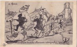 """Carte Militaire Satirique Guerre 1914-1915. à Hansi """"Pacifiques Touristes Allemands Radiographiés"""". - Guerre 1914-18"""