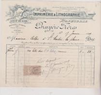 (LOIRE)RIVE DE GIER ;imprimerie &lithographie , Papeterie , BRUYERE Frères , Rue Montjoint - Imprimerie & Papeterie