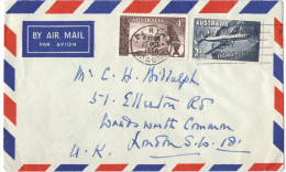 AUSTRALIA - 1958 - Airmail - Special Cancel United Nations DAY 24th October- Viaggiata Da Perth Per London, England - 1952-65 Elizabeth II: IEmissione Prima Decimali