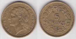 5 FRANCS LAVRILLIER Bronze D'aluminium - Cupro Aluminium 1939 (voir Scan) 1 - J. 5 Francs