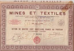 Action Mines Et Textiles - 425 Francs Au Porteur - Afrique