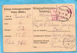 GUERRE 14-18-carte De Prisonnier Français En Allemagne 9 Aout  1916+- Censurée -camp WAHN- - Marcophilie (Lettres)