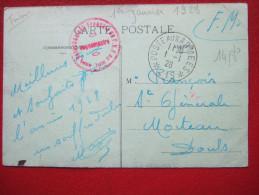 """CARTE POSTALE - CACHET : POSTE AUX ARMEES N° 219  ENVOYEE LE  1 - 1 - 1928 - + CACHET """" DETACHEMENT FRANÇAIS.....Rare - Marcophilie (Lettres)"""