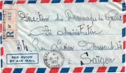 """INDOCHINE : DE """" SAVANNAKET """" . LAOS . REC . 1951 . POUR """" SAIGON """" . - Briefe U. Dokumente"""