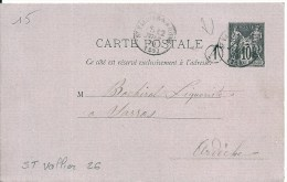 St Vallier (26 Drôme) Pour Sarras (Ardèche 07) + Boitier A   état  TB - 1877-1920: Periodo Semi Moderno