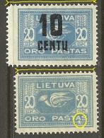 LITAUEN Lithuania 1921/22 Michel 102 & 176 + ERROR Abart * - Lithuania