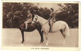 The Royal Princesses (Elizabeth And Margaret Of Great Britain) On Horseback - Unused - Postcards