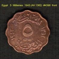 EGYPT   5  MILLIEMES  1943 (AH 1362)  (KM # 360) - Egypt