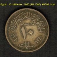 EGYPT   10  MILLIEMES  1960 (AH 1380)  (KM # 395) - Egypt