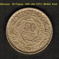 MOROCCO   50  FRANCS  1951 (AH 1371)  (Y # 51) - Morocco