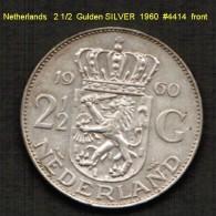 NETHERLANDS   2 1/2  GULDEN  SILVER   1960  (KM # 185) - [ 3] 1815-… : Kingdom Of The Netherlands