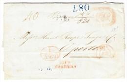 Vorphilabrief Napoli 1841 Nach Porto Durch Via Di Voghera, Toulouse Transit Und AK-Stempel Blau, Rot U Schwarz - 1. ...-1850 Vorphilatelie
