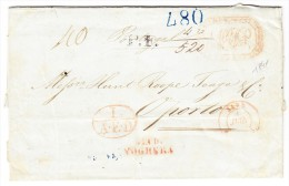 Vorphilabrief Napoli 1841 Nach Porto Durch Via Di Voghera, Toulouse Transit Und AK-Stempel Blau, Rot U Schwarz - Italien
