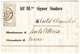 Sardinien Monza 7.4.1863 Paar 1 Cent Zeitungsmarke Auf Drucksache - Sardegna