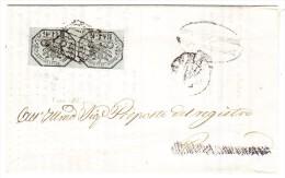 Kirchenstaaten - 6 Baj Senkrechtes Paar (mit Abart) Auf Polizei Dokument 20.8.1857 - Kirchenstaaten
