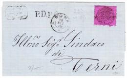 Kirchenstaaten - Mi#23a 20 Cent. Auf Brief 18.9.1869 Roma Nach Terni AK-Stempel - Kirchenstaaten