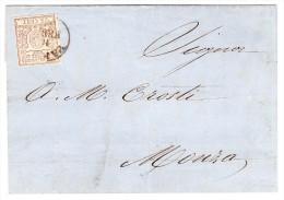 Parma - Mi#10 - Brief 11.2.1858 Parma Mit 25C Braun Einzelfrankatur Nach Monza - Parma