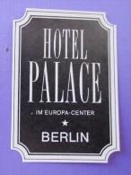 HOTEL MOTEL PENSION PALACE EUROPA BERLIN GERMANY DEUTSCHLAND TAG DECAL STICKER LUGGAGE LABEL ETIQUETTE AUFKLEBER BERLIN - Hotel Labels
