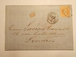MARCOPHILIE - Lettre Obliteration Enveloppe - Lyon à Londres - Timbre N° 31 + PD (4/6) - 1849-1876: Période Classique