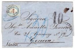 1870 Faltbrief Aus Odessa 23.5.1870 Ohne Marke Tax10 Via Wien, Udine, Milano AK-0 1 Lire Nachporto Seltener Brief - 1861-78 Victor Emmanuel II.