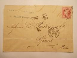 MARCOPHILIE - Lettre Obliteration Enveloppe - Marseille à Gênes - Timbre N° 32 + Ambulant (13/14) - 1849-1876: Période Classique