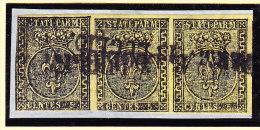 Parma 1852 Mi.#1 In 3-er-Streifen Gestempelt - Parma