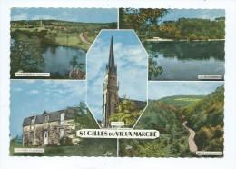 CPM - Saint-Gilles-du-Vieux-Marché - Multivues - Etang Et Vallée De Poulancre Auberge De La Jeunesse L´église Lac De Gue - Saint-Gilles-Vieux-Marché
