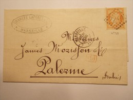 MARCOPHILIE - Lettre Obliteration Enveloppe - Marseille à Palerme - Timbre N° 38 + PD (16/18) - 1849-1876: Période Classique