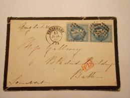 MARCOPHILIE - Lettre Obliteration Enveloppe - Versailles à Bath - Timbre Paire N° 29A + PD (19/21) - 1849-1876: Période Classique