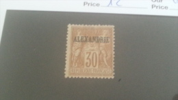 LOT 233652 TIMBRE DE COLONIE ALEXANDRIE NEUF(*) N�12 VALEUR 20 EUROS