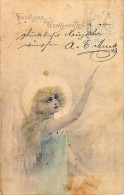AK ENGEL ANGEL MÄDCHEN  WEIHNACHTEN   ALTE POSTKARTEN 1903 - Anges