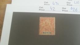 LOT 233726 TIMBRE DE COLONIE BENIN NEUF* N�42 VALEUR 26 EUROS