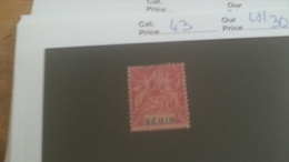 LOT 233727 TIMBRE DE COLONIE BENIN NEUF(*) N�43 VALEUR 30 EUROS