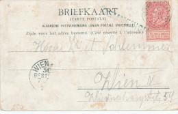 046/23 - CANTONS DE L ' EST - Carte-Vue Des 4 Frontières TP Fine Barbe VERVIERS 1901 à VIENNE - Griffe Bleutée GEMMENICH - Poststempel