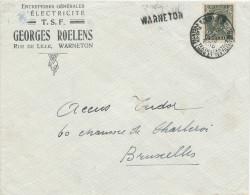 048/23 -  Griffe De WARNETON Sur Lettre TP 401 KORTRIJK 1935 - Entete Electricité T.S.F. Roelens - Poststempel