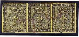Parma 1852 Mi.#1 Gestempelt 5 Cent Sauberer 3er-Streifen (leichter Roter Gitterstempel) Signiert Diena - Parma