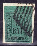 Romagna 1859  3 Baj.Mi.#4 Bogenrandstück Gestempelt Mehrfach Signiert - Romagne