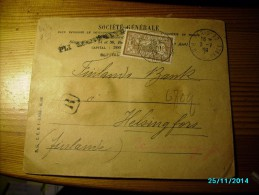 1909 FRANCE PARIS 22 , WAX SEALED COVER  TO  FINLAND BANK  HELSINKI IMPERIAL RUSSIA , PERFIN  Societe Generale SG ,   0 - Storia Postale