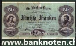 Coins-banknotes-Funfzig franken-die bank in Luzern-Switzerland-used,p erfect shape