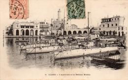 cpa 1904,  ALGER, l'amiraut�, la d�fense mobile et les beaux b�timents sur le quai  (44.79)