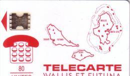 WALLIS ET FUTUNA WF2 CARTE DES ILES ROUGE 80U UT - Wallis-et-Futuna