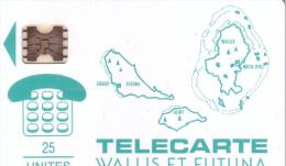WALLIS ET FUTUNA WF1A CARTE DES ILES VERTE 25U SC5AB UT - Wallis Und Futuna