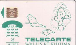 WALLIS ET FUTUNA WF1 CARTE DES ILES VERTE 25U SC4AB  UT LUXE - Wallis And Futuna