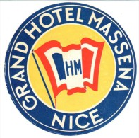 ETIQUETA DE HOTEL  - GRAND HOTEL MASSENA  -NICE - Hotel Labels