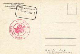 052/23 -  OSTENDE-DOUVRES - Cachets Télégraphique TT Prins Albert / Orag 1980 Et Administratif Sur Carte-Vue Bateau - Telegraph