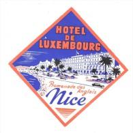 ETIQUETA DE HOTEL  - HOTEL DE LUXEMBOURG - NICE  -PROMENADE DES ANGLAIS - - Etiquettes D'hotels
