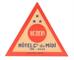 ETIQUETA DE HOTEL  -  HOTEL Cle. DU MIDI -BEZIERS - Etiquettes D'hotels