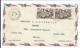 Lettre Par Avion Saint Pierre Et Miquelon,1949, Laurelli Député (enveloppe Seule) Paire Timbres 4f, Voir Deux Photos # - Unclassified
