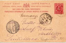 UGANDA ENTIER POSTAL POUR L'ALLEMAGNE 1908 - Kenya, Uganda & Tanganyika