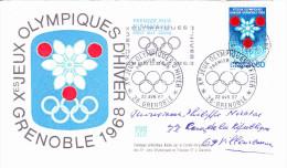 GRENOBLE (38) Xèmes JEUX OLYMPIQUES D'HIVER 1968, Flocon, Henri Chalaron, FDC 22/04/1967 - FDC